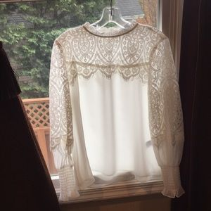 White S10 blouse w/ a Lacey top and Lacey sleeves